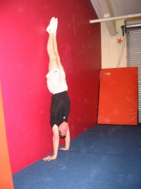 Handstand facing away from the wall, proper position